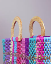 Laura Sofía Wooden Handle Woven Tote