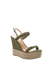 Green Braided Suede Wedges