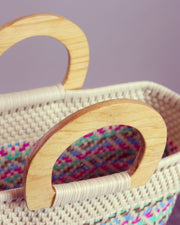 OAXACA | BLAIZ | Alba Multicolour Wooden Handle Woven Tote