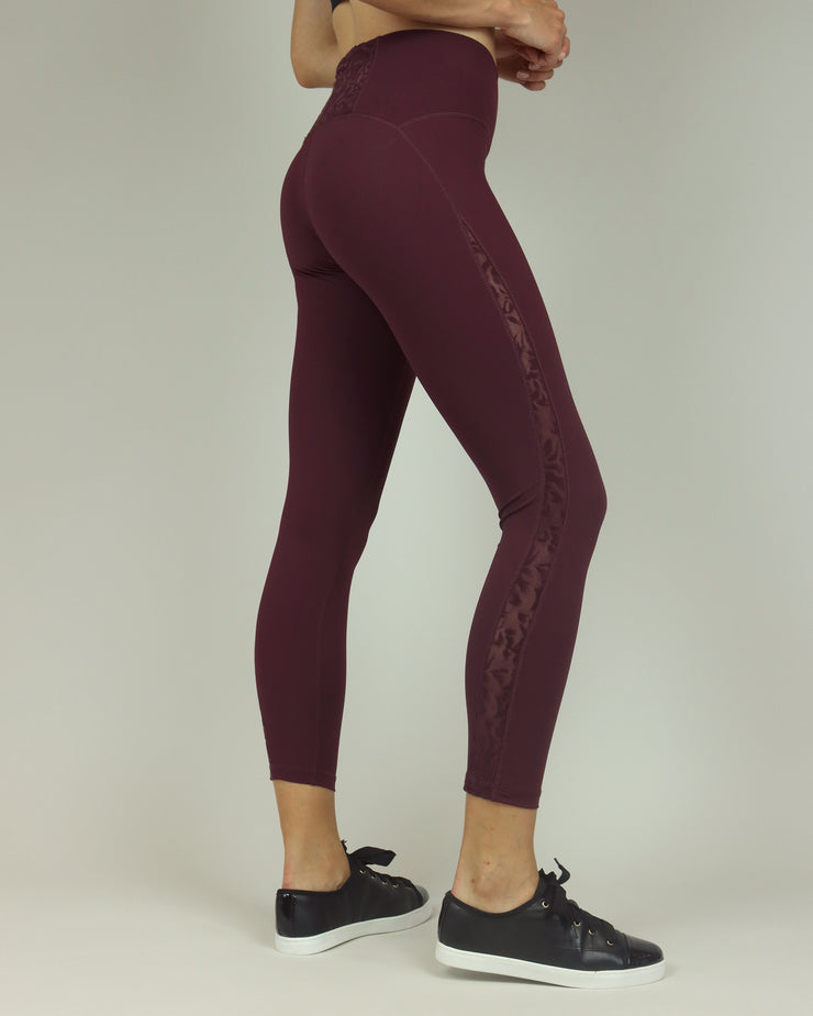 Wine Lacy High-Waisted Leggings