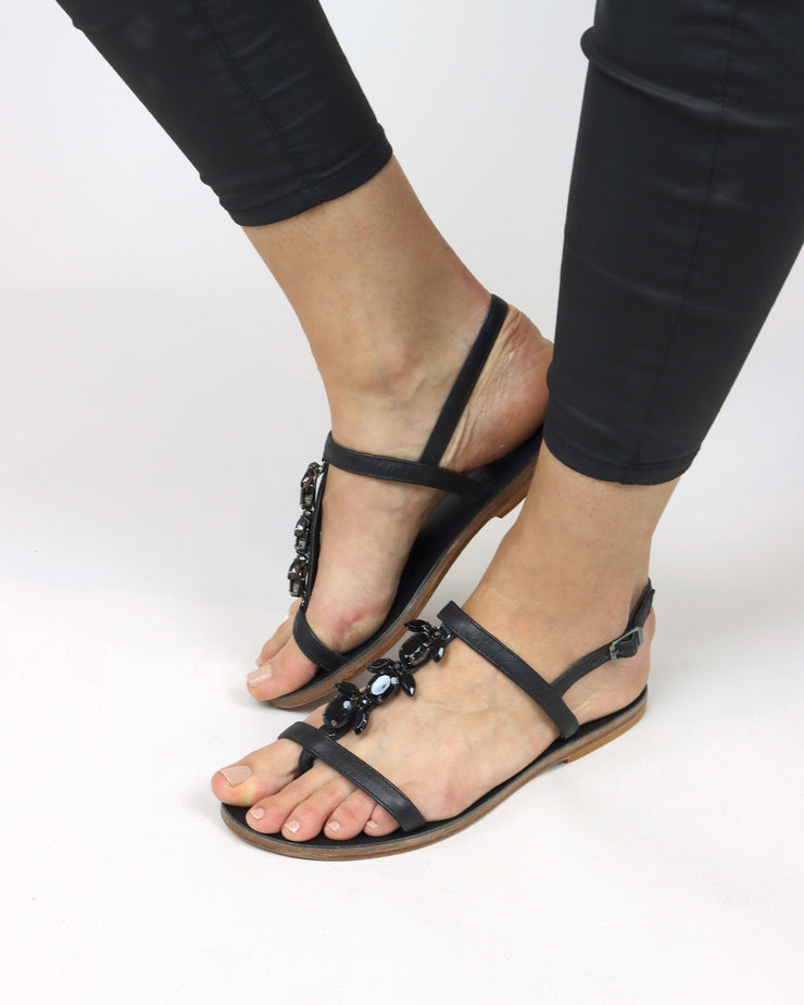 Black Embellished Leather Sandals