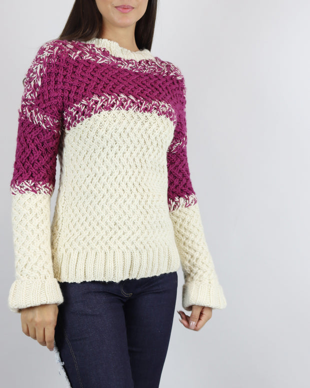 Cream & Raspberry Turtle Neck Jumper