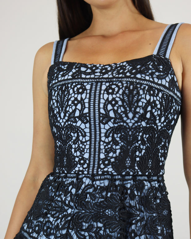 SKAZI | BLAIZ | BLACK BLUE LACE MAXI DRESS
