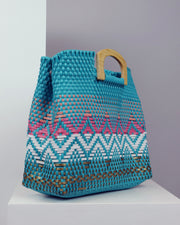 Zarina Wooden Handle Woven Tote
