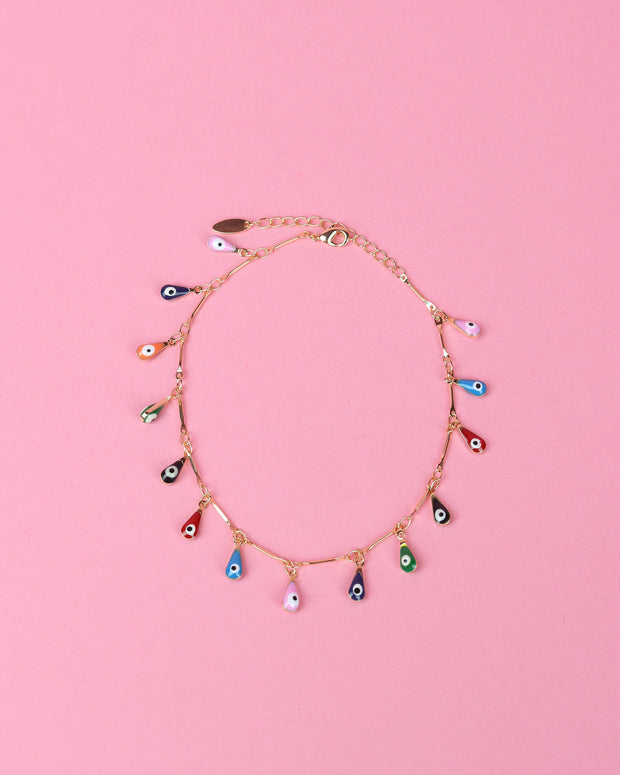 Evil Eye Teardrop Anklet