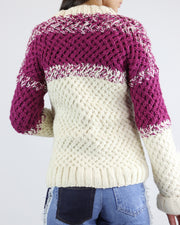 CARDAN CABOS | BLAIZ | Cream & Raspberry Turtle Neck Jumper