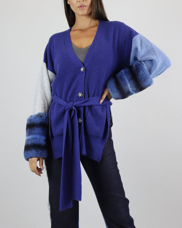 IZAAK AZANEI | BLAIZ | Blue Knit Cardigan Fur Cuffs