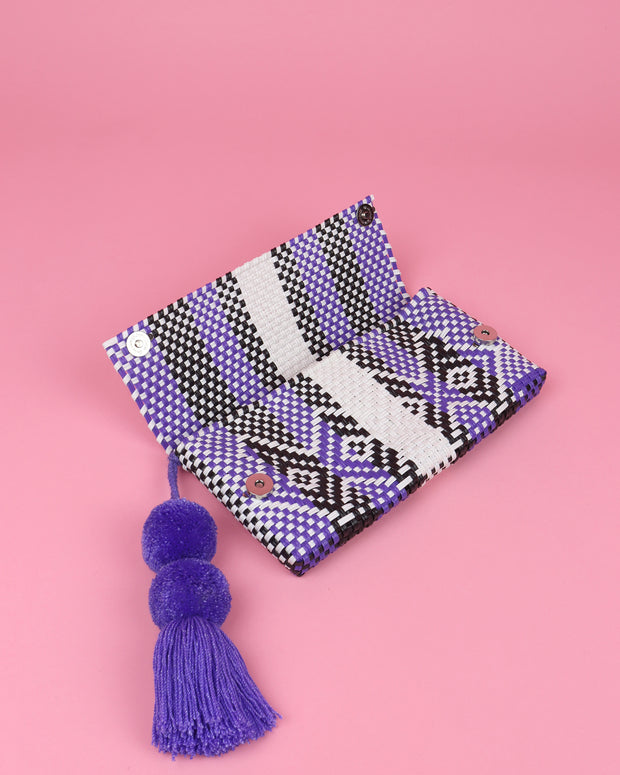 White, Lilac & Black Pom Pom Clutch