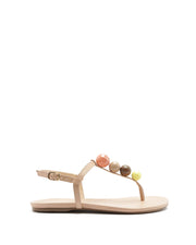 AREZZO | BLAIZ | Cream Bobble Sandals Multi Flats Summer Brown Yellow Pink Beige