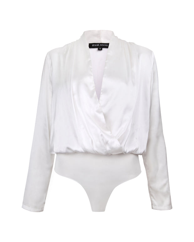 IZAAK AZANEI | BLAIZ | White V-Neck Bodysuit