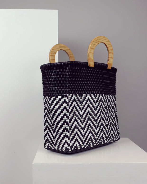 Luna Wooden Handle Woven Tote