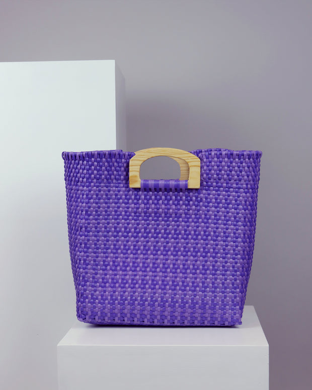 OAXACA | BLAIZ | Soledad Purple Wooden Handle Woven Tote