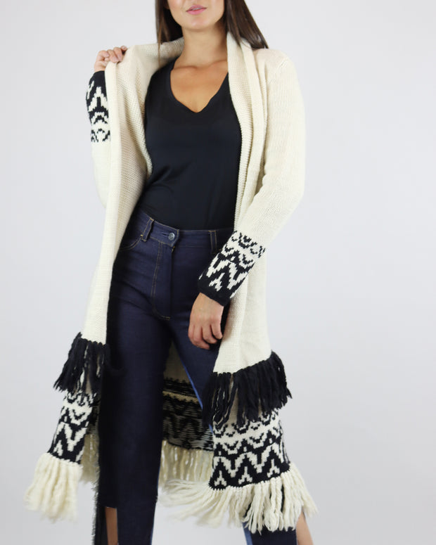 Cream & Black Mid-Length Open Cardigan