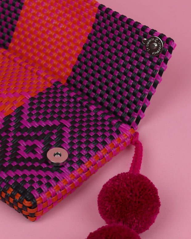 Black, Magenta & Orange Pom Pom Clutch