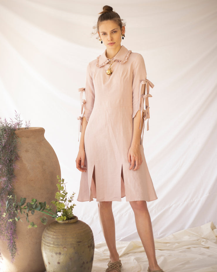 LORAINE HOLMES | BLAIZ | Blush Pink Linum Midi Dress