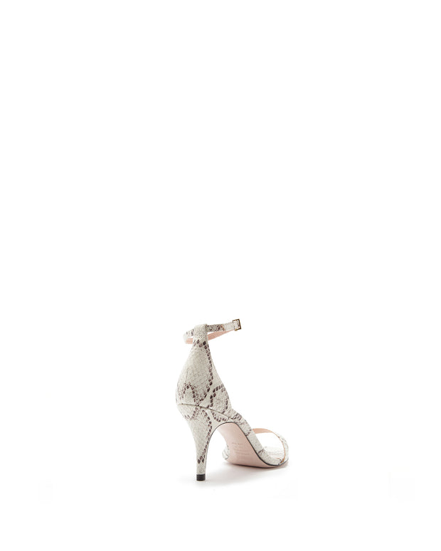 White Snake Mid Heel Sandals