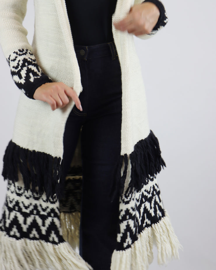 CARDAN CABOS | BLAIZ | Cream & Black Mid-Length Open Cardigan