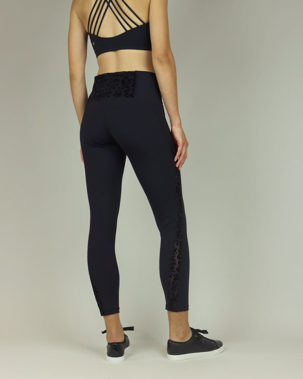 Black Lacy High-Waisted Leggings