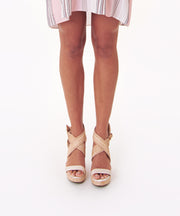 AREZZO | BLAIZ | Beige Raffia Wedges Shoes Heels Cream Brown Sandals