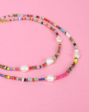 227 | BLAIZ | Rainbow Beaded Pearl Choker