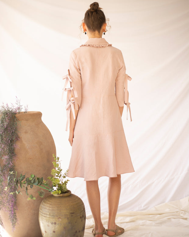 Blush Pink Linum Midi Dress