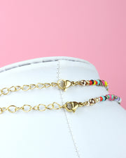 Rainbow Beaded Pearl Choker