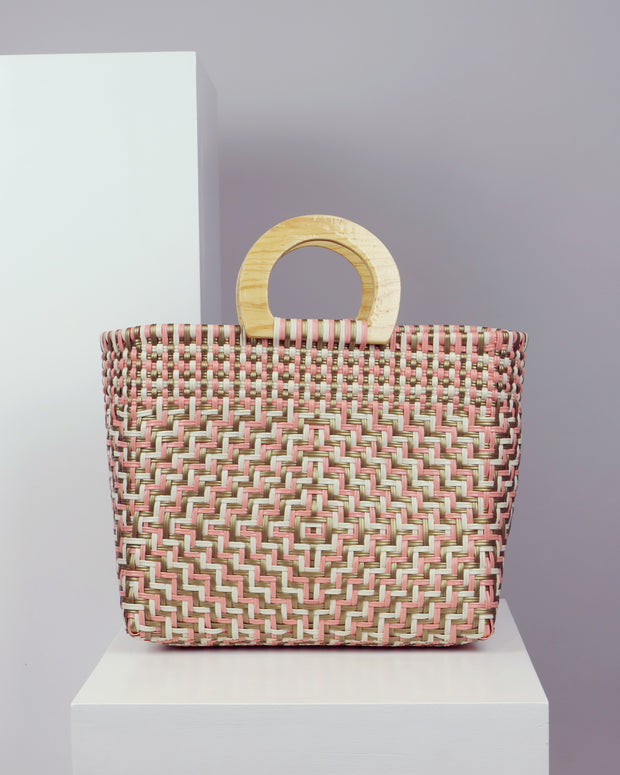 OAXACA | BLAIZ | Antonella Multicolour Wooden Handle Woven Tote