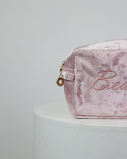 227 | BLAIZ | Baby Pink Velvet Beauty Cosmetics Wash Travel Bag