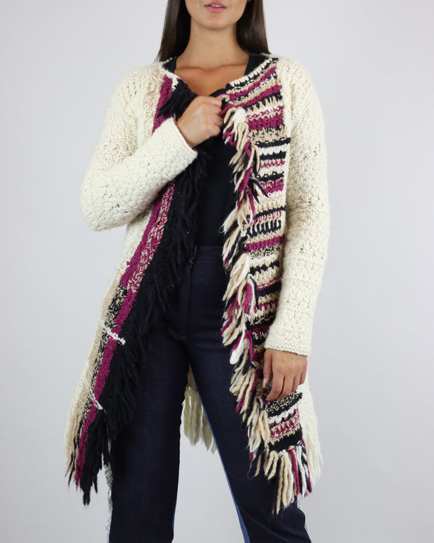 Cream Mid-Length Open Front Cardigan