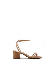 Beige Strappy Mid Heel Sandals