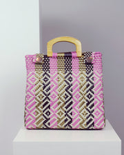 OAXACA | BLAIZ | Gaudalupe Pink, Gold & Black Wooden Handle Woven Tote