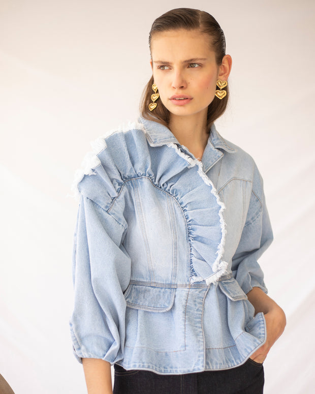 LORAINE HOLMES | BLAIZ | Light Blue Dindi Denim Jacket
