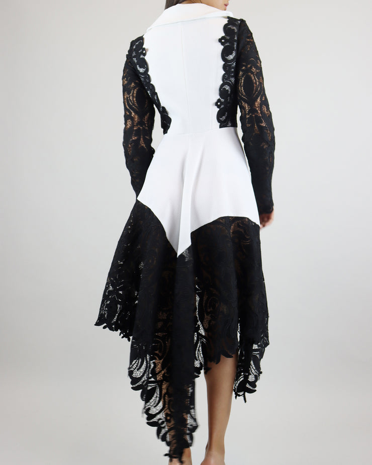 SKAZI | BLAIZ | WHITE BLACK LACE BLAZER DRESS