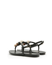 AREZZO | BLAIZ | Black Bobble Sandals Flats Multi Summer Gold Buckle Cream Brown Beige