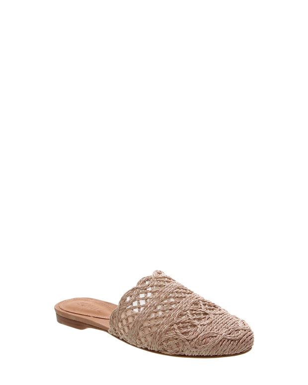SCHUTZ | BLAIZ | Nude Raffia Slip On Mules Natural Neutral