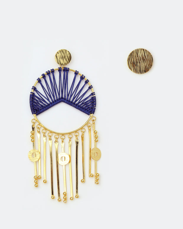 Innova Asymmetric Gold & Blue Earrings