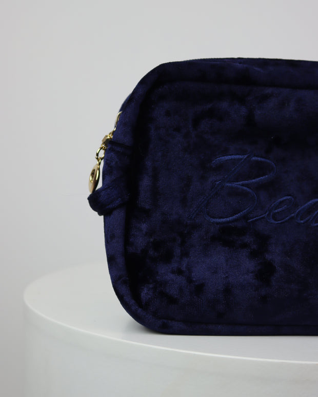 227 | BLAIZ | Deep Navy Velvet Beauty Cosmetics Wash Travel Bag