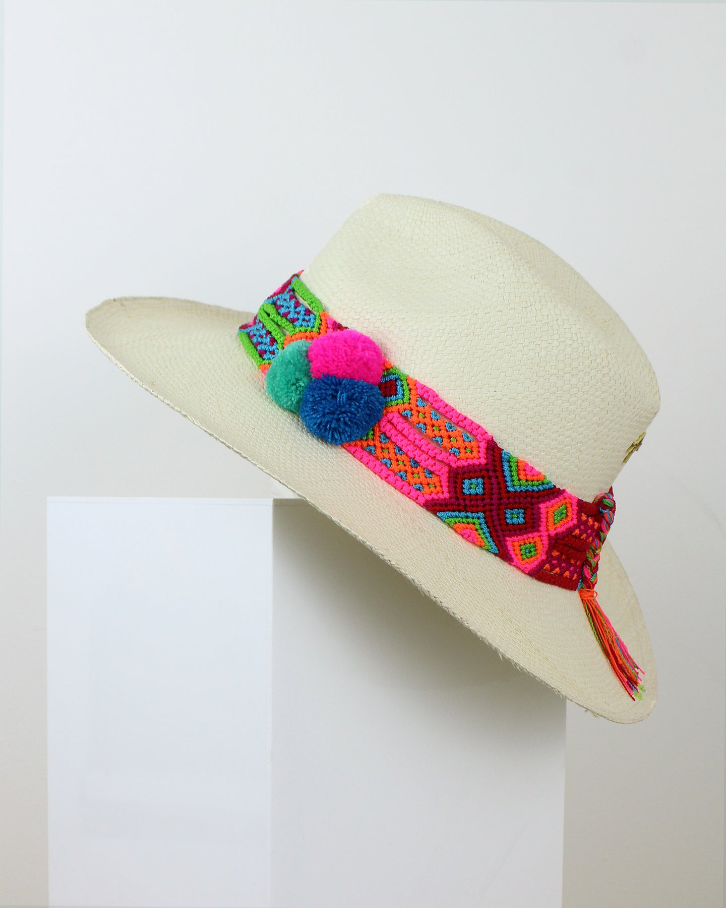 Neon Pink, Green & Blue Ivory Panama Hat