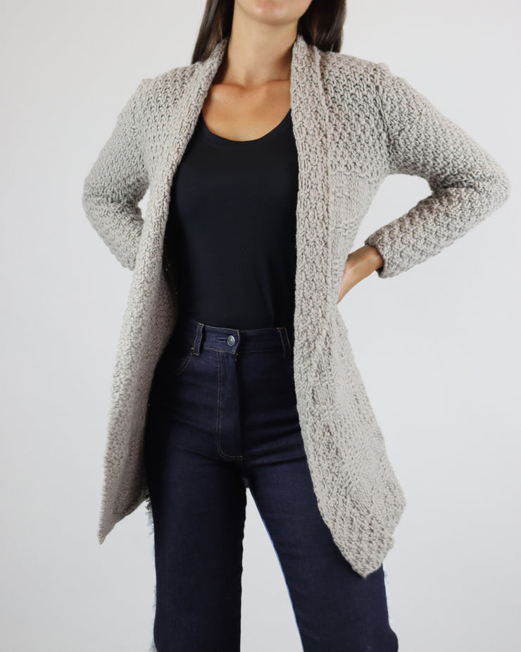 Taupe Merino Wool Waterfall Cardigan