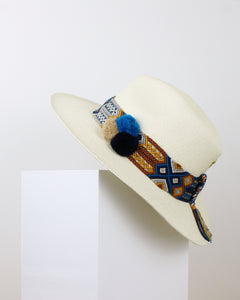 Blue, Teal and Beige Ivory Panama Hat
