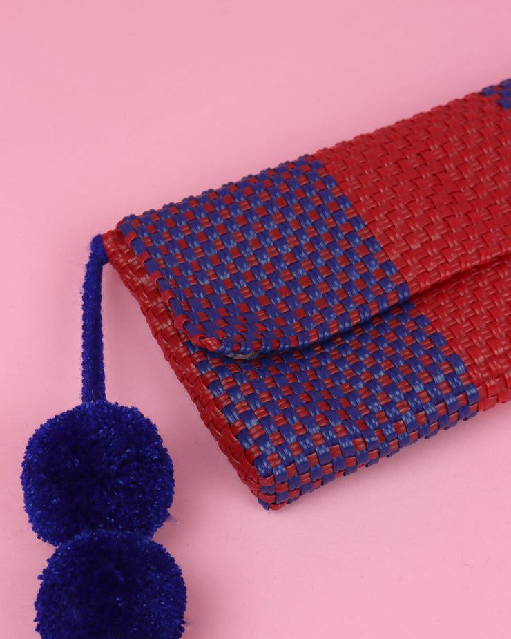 Red & Blue Pom Pom Clutch