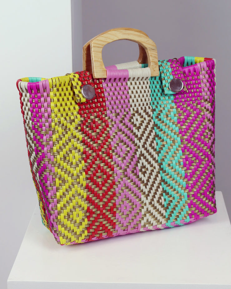 Jazmín Wooden Handle Woven Tote