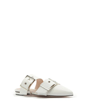 SCHUTZ | BLAIZ | White Buckle Pointed Flats Slip On Shoes Mules Leather