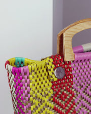 OAXACA | BLAIZ | Jazmín Multicolour Wooden Handle Woven Tote