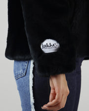 JAKKE | BLAIZ | HOODED BLACK FAUX FUR JACKET