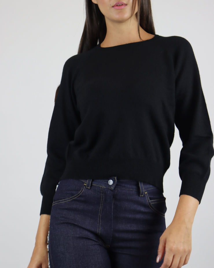 JUMPER 1234 | BLAIZ | BLACK CASHMERE CREW NECK JUMPER