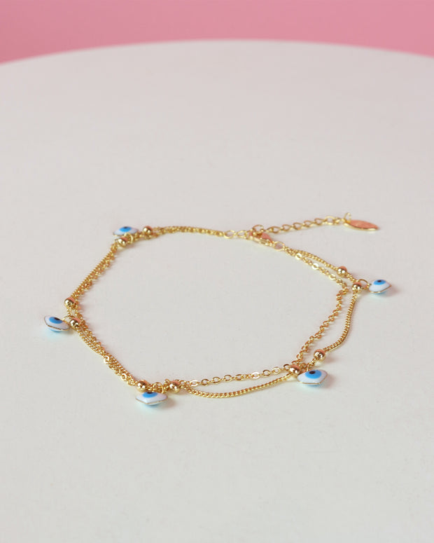 227 | BLAIZ | Heart Evil Eye Gold Anklet