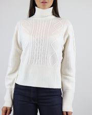JUMPER 1234 | BLAIZ | CASHMERE CREAM TEXTURED TURTLE NECK JUMPER