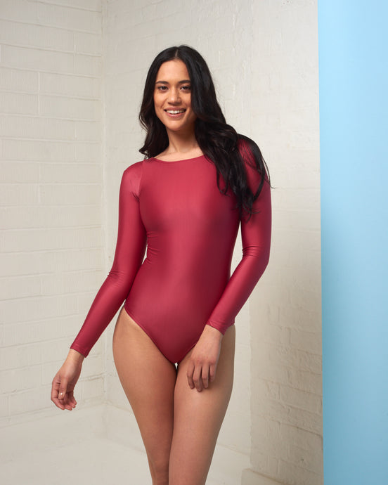 Ruby Red Long Sleeve Bodysuit