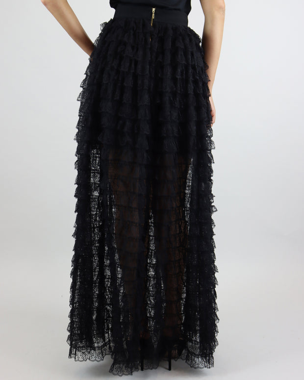 Black Lace Tiered Maxi Skirt
